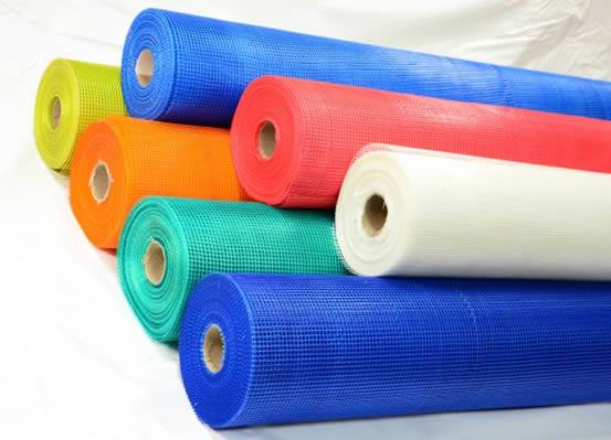 Reinforcing Fiberglass Cloth In Serve Rolls For Plastering With Blue,  White, Red, Yellow